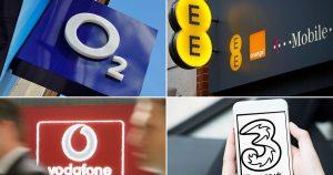 O2, EE, Vodafone and Three logos