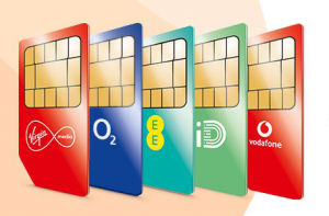 SIM cards from major UK mobile operators