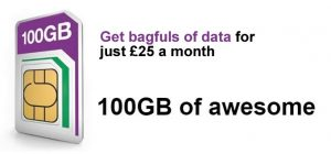 Three 100GB data SIM